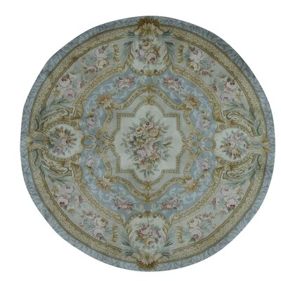 Marie Antoinette and Plush Savonnerie Hand-Knotted Blue Area Rug