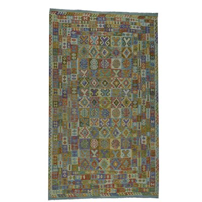 Afghan Kilim Veg Dyes Flat Weave Gallery Hand-Knotted Light Green/Purple Area Rug