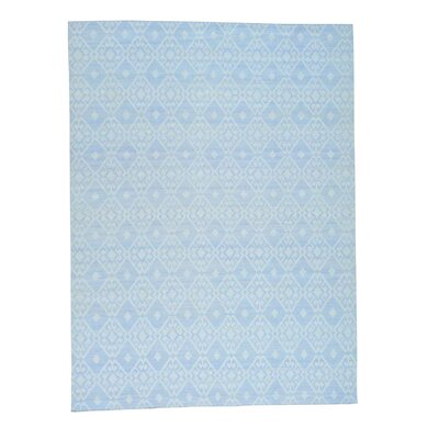 Flat Weave Reversible Durie Kilim Oriental Hand-Knotted Blue Area Rug