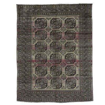 Vintage Afghan Elephant Abrash Hand-Knotted Wool Beige Area Rug