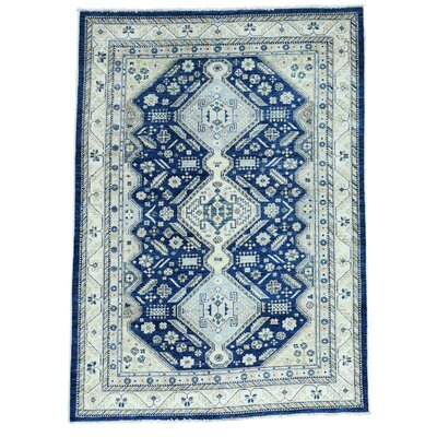 Shiraz Oriental Hand-Knotted Blue Area Rug