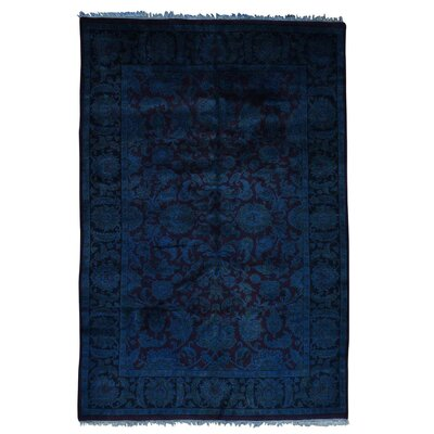 Rajasthan Overdyed and Plush Oriental Hand-Knotted Wool Purple Area Rug