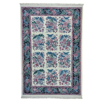 Sarouk Oriental Hand-Knotted Ivory Area Rug
