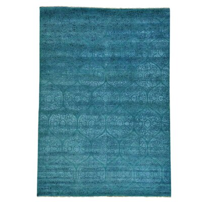 Mughal Dense Weave Oriental Hand-Knotted Silk Teal Area Rug