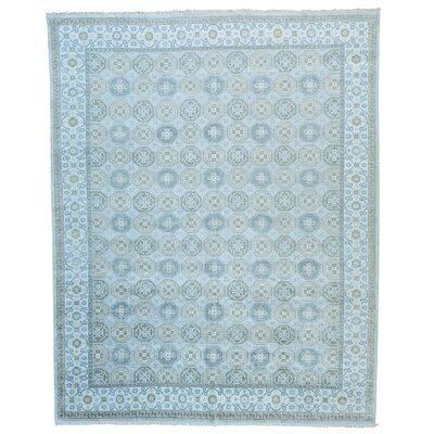 Khotan Oriental Hand-Knotted Silk Gray Area Rug
