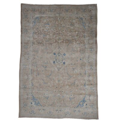One-of-a-Kind Kenilworth Vintage Mashad Worn Oriental Hand-Knotted Area Rug