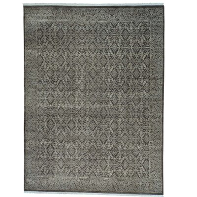Tone on Tone Geometric Oriental Hand-Knotted Wool Brown Area Rug