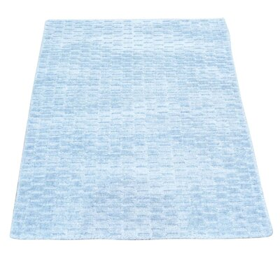 Tone on Tone Oriental Hand-Knotted Silk Light Blue Area Rug