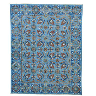 Crafts Tulip Oriental Hand-Knotted Blue Area Rug