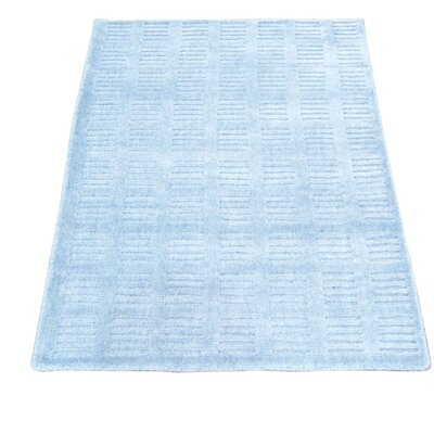 Tone on Tone Hand-Knotted Silk Blue Area Rug