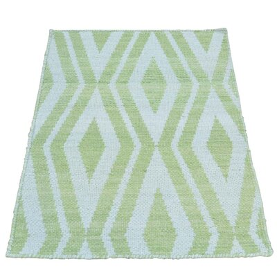 Light Reversible Kilim Oriental Hand-Knotted Wool Green Area Rug