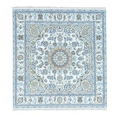 Nain 300 KPSI Oriental Hand-Knotted Silk Ivory Area Rug