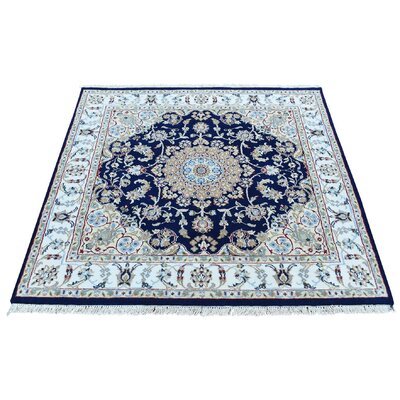 Nain 300 KPSI Oriental Hand-Knotted Silk Blue Area Rug