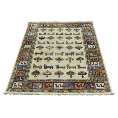 One-of-a-Kind Tillotson Super Khorjin Oriental Hand-Knotted Ivory Area Rug