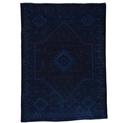 Overdyed Oriental Hamadan Hand-Knotted Blue Area Rug