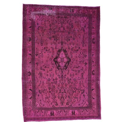 Overdyed Bibikabad Oriental Hand-Knotted Pink Area Rug