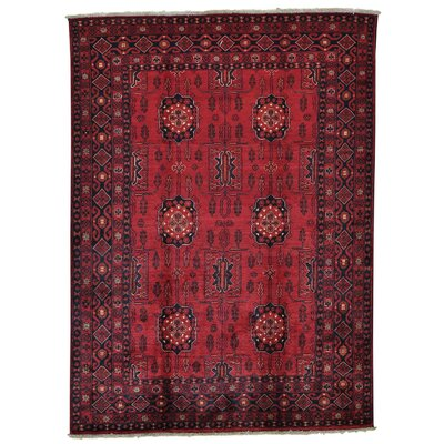Vegetable Dyes Afghan Khamyab Hand-Knotted Red Area Rug
