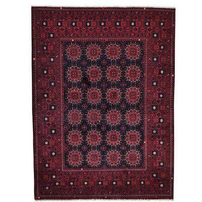 Afghan Khamyab Vegetable Dyes Oriental Hand-Knotted Black Area Rug