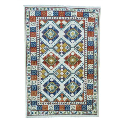 Repetitive Afghan Ersari Oriental Hand-Knotted Ivory Area Rug