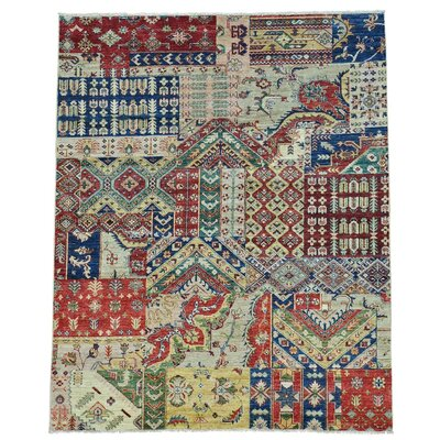 Ghanzi Afghan Patchwork Oriental Hand-Knotted Beige/Blue Area Rug