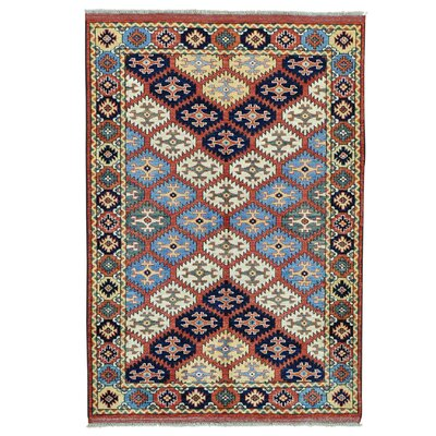 Afghan Caucasian Oriental Hand-Knotted Red Area Rug