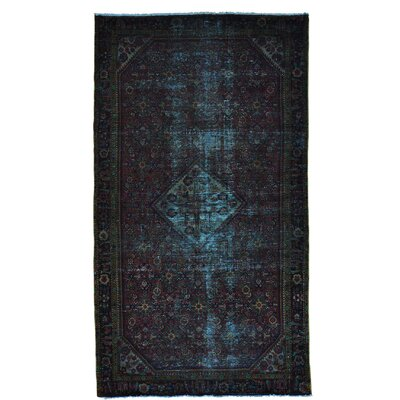 One-of-a-Kind Grasmere Worn Down Overdyed Hamadan Oriental Hand-Knotted Area Rug