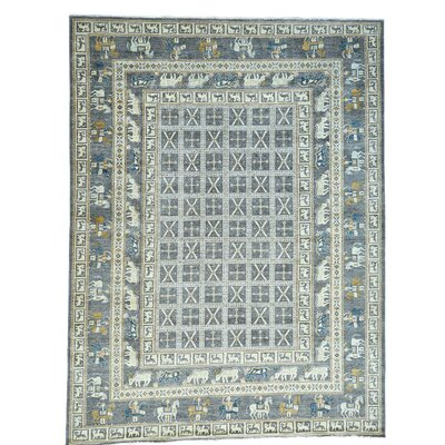 Pazyryk Oriental Hand-Knotted Gray Area Rug