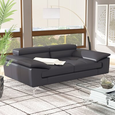 Colwyn Italian Leather Loveseat Upholstery: Black
