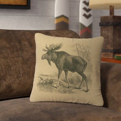 Nakagawa Moose Scene Throw Pillow Color: Straw