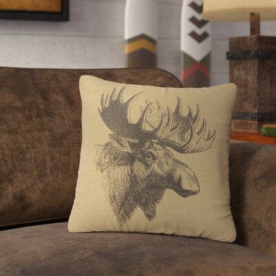 Nakagawa Moose Profile Throw Pillow Color: Straw