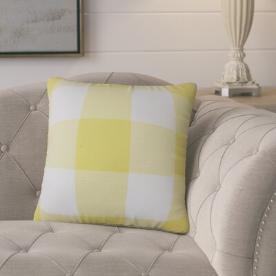 Ronzi Plaid Down Filled 100% Cotton Throw Pillow Size: 24 x 24, Color: Yellow