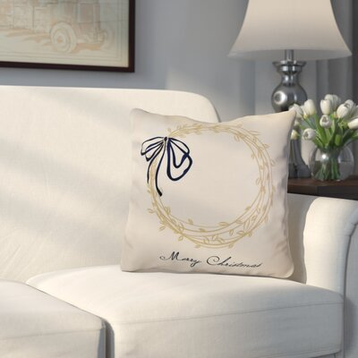 Decorative Holiday Word Print Outdoor Throw Pillow Size: 18 H x 18 W, Color: Taupe