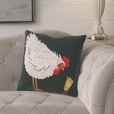 Garay Hen with Chick Wool Throw Pillow