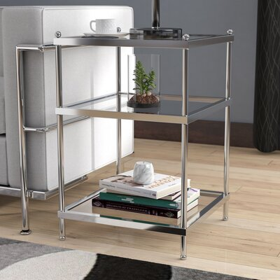 Rigsby End Table with Storage Color: Clear