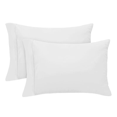 Luxury Set of 2 Pillow Case Size: Standard, Color: White