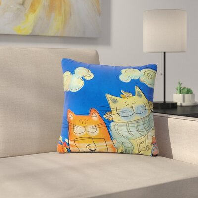 Carina Povarchik Happy Cats in the City Outdoor Throw Pillow Size: 18 H x 18 W x 5 D