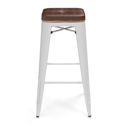 Earleton 30 Bar Stool Color: White/Honey