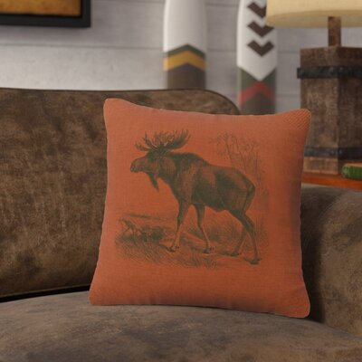 Nakagawa Moose Scene Throw Pillow Color: Paprika