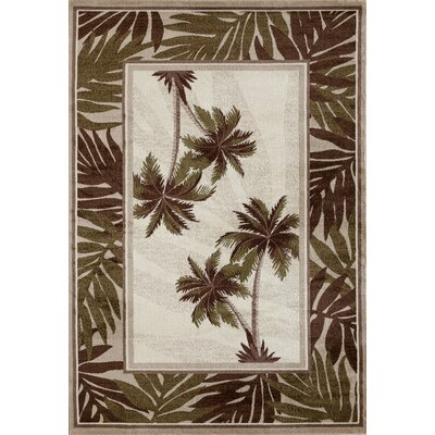 Kolb Frond Green/Brown Area Rug Rug Size: Oval 53 W x 77 L