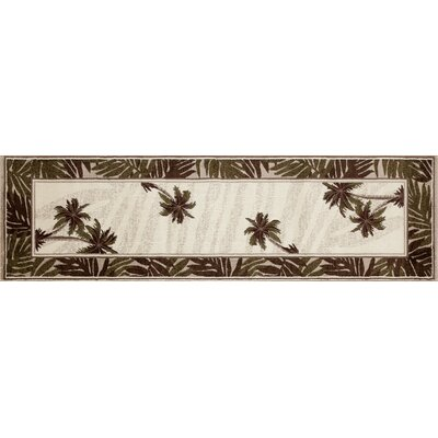 Kolb Frond Green/Brown Area Rug Rug Size: Runner 22 W x 81 L