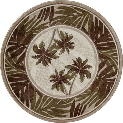 Kolb Frond Green/Brown Area Rug Rug Size: Round 53 W x 53 L