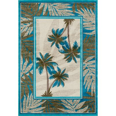 Kolb Frond Blue/Green Area Rug Rug Size: Rectangle 710 W x 106 L