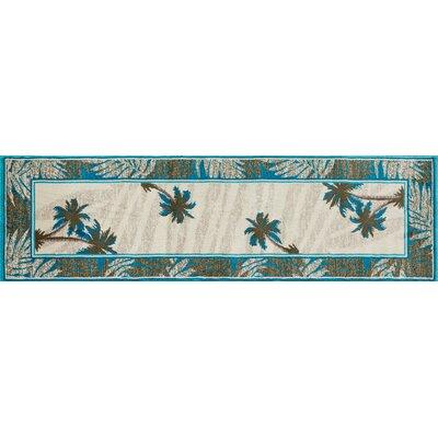 Kolb Frond Blue/Green Area Rug Rug Size: Runner 22 W x 81 L