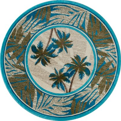 Kolb Frond Blue/Green Area Rug Rug Size: Round 53 W x 53 L