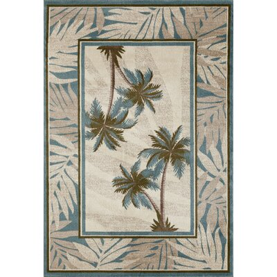 Kolb Frond Beige/Gray Area Rug Rug Size: Rectangle 92 W x 124 L