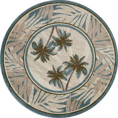 Kolb Frond Beige/Gray Area Rug Rug Size: Round 710 W x 710 L