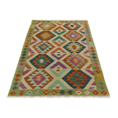 One-of-a-Kind Bakerstown Kilim Hand-Woven Gray/Purple Area Rug