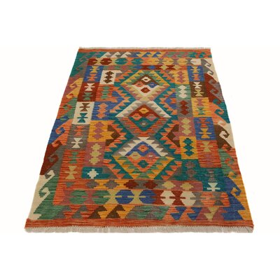 One-of-a-Kind Bakerstown Kilim Hand-Woven Orange/Blue Area Rug