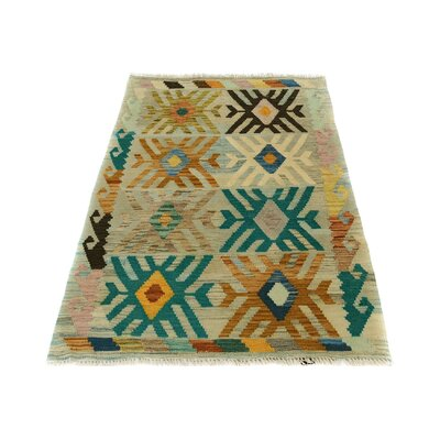 One-of-a-Kind Bakerstown Kilim Hand-Woven Gray/Teal Area Rug