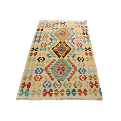 One-of-a-Kind Bakerstown Kilim Hand-Woven Ivory/Blue Area Rug